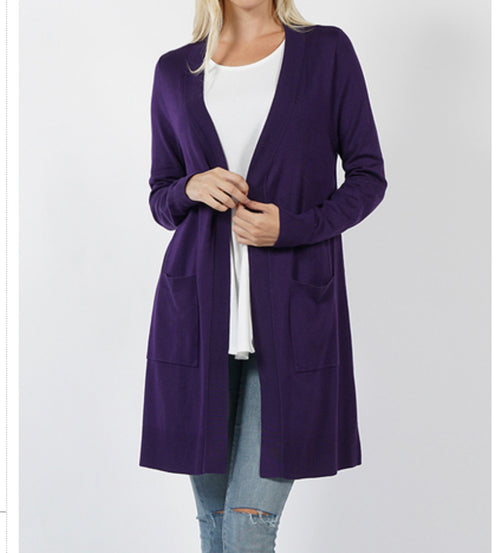 Curvy Purple Open Front Cardigan