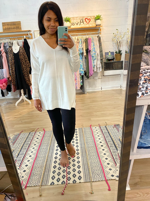 Ivory V Neck Sweater