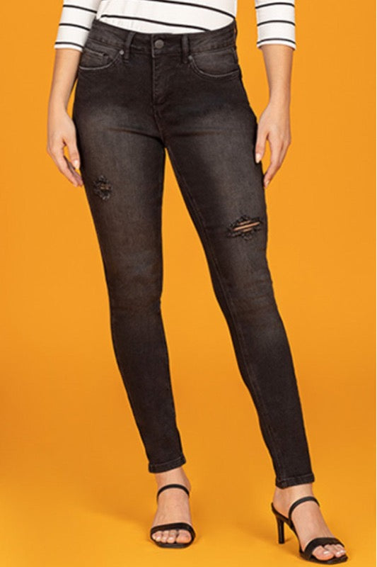 Black Denim High Waist Distressed Jeans