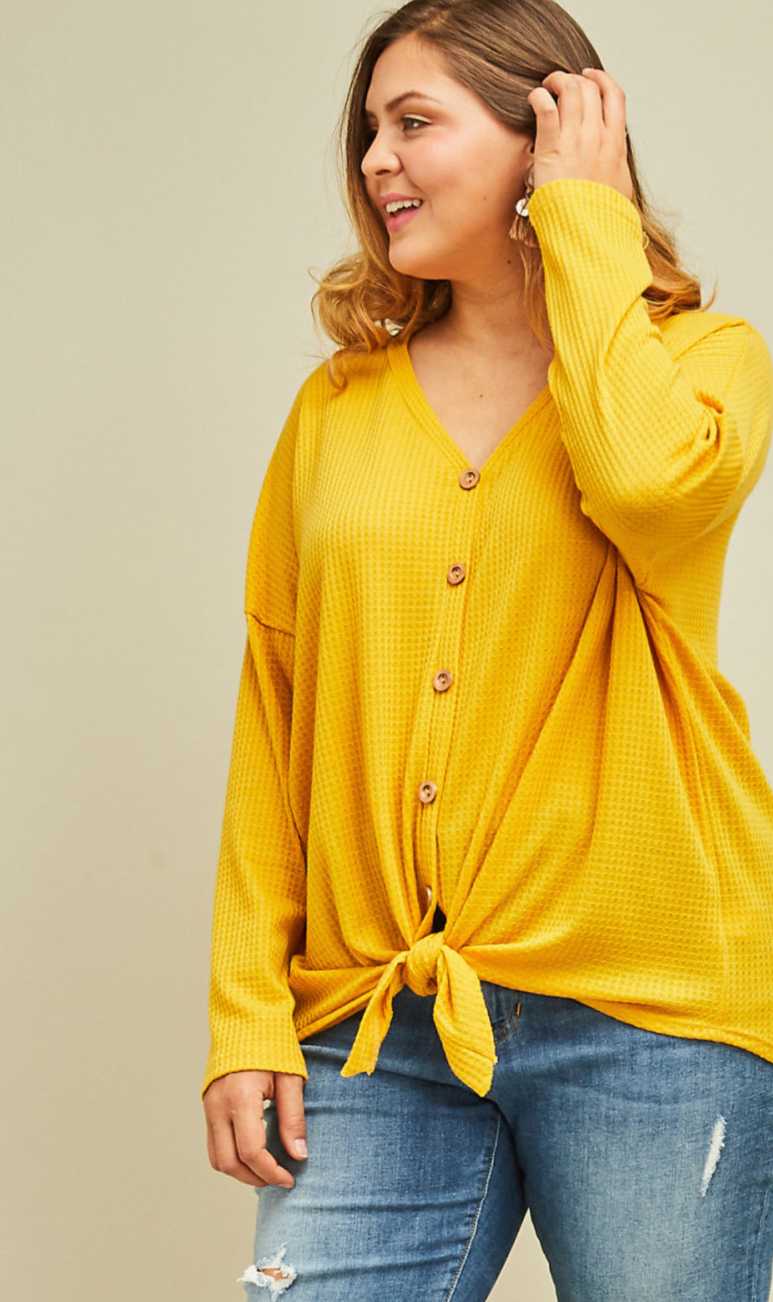 Curvy Waffle Button Up Top