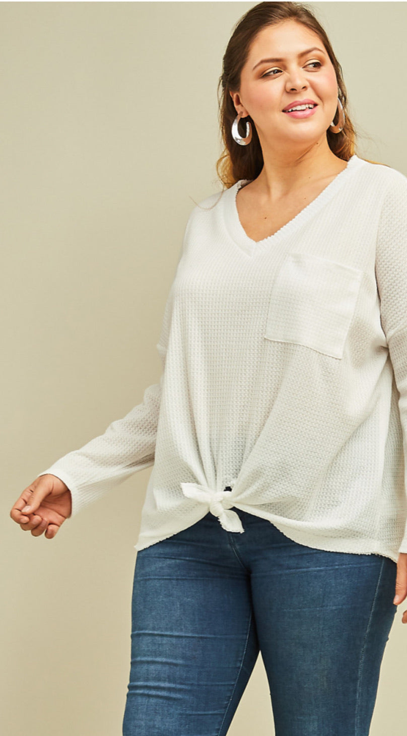 Curvy Off White Waffle V Neck Top