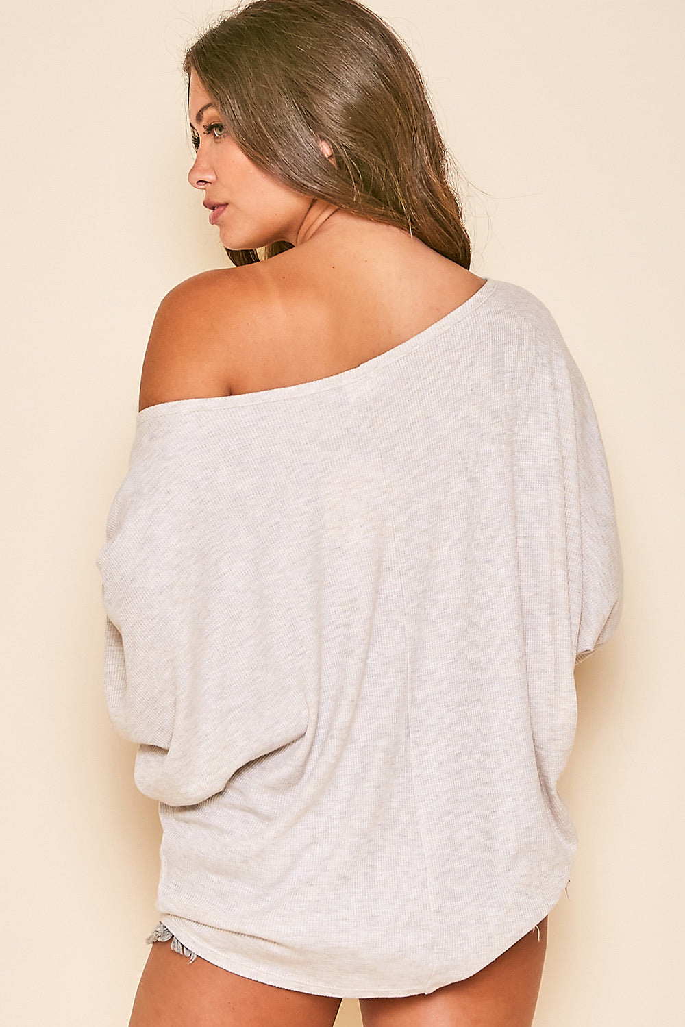 Oatmeal Batwing Top