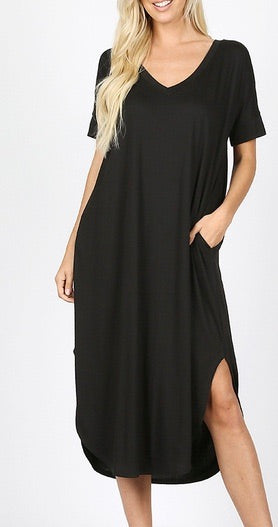 Misses Basic V Neck Dress