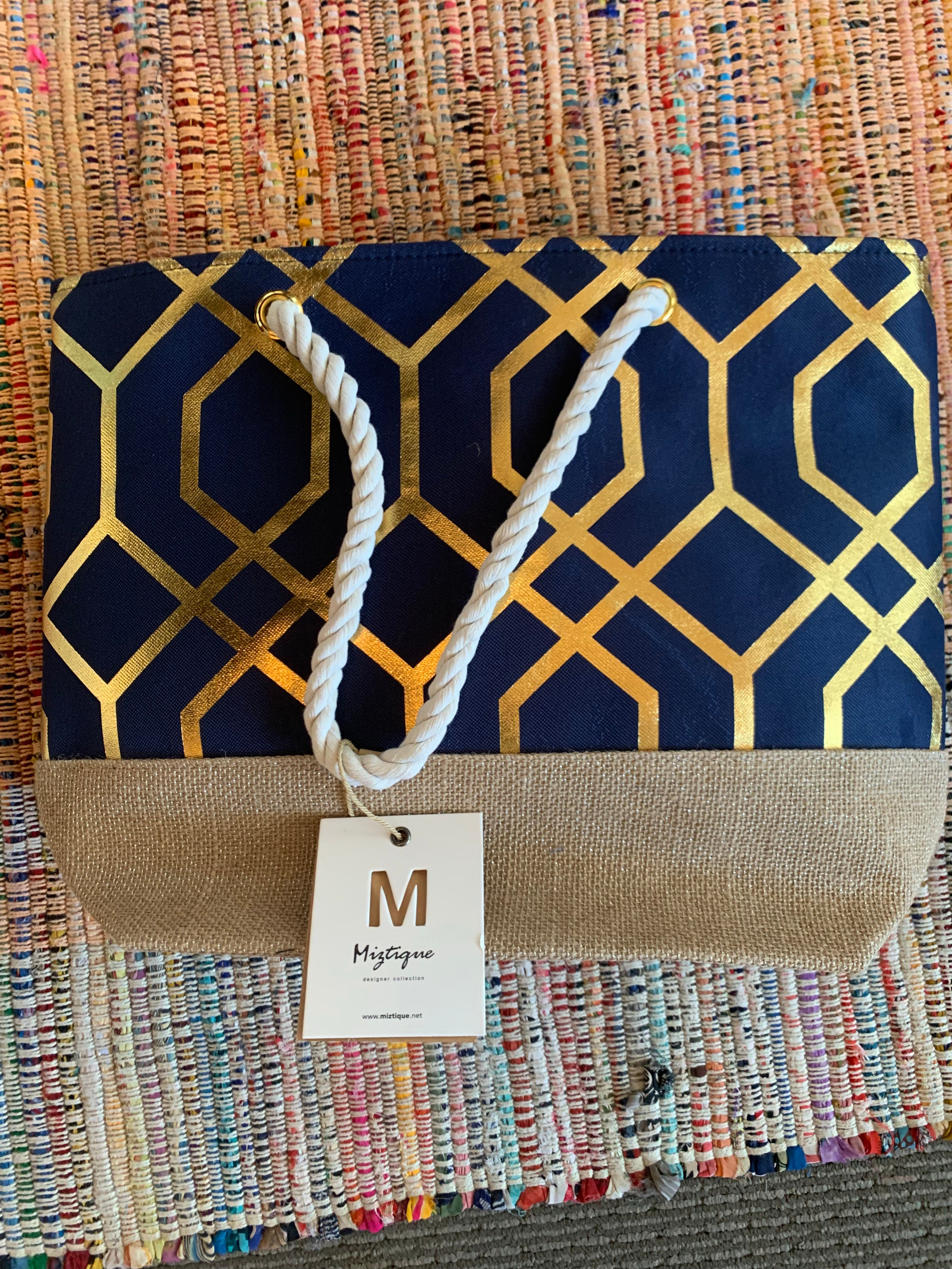 Glittery Burlap Bottom Monogrammable Beach Bag