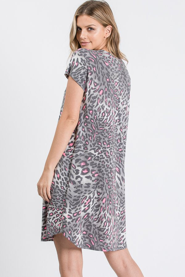 Grey Multi Cheetah Dress