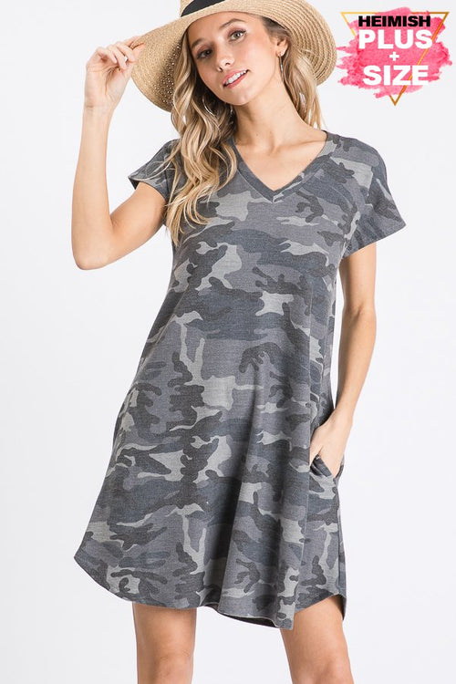Curvy Charcoal/Grey Camo Dress