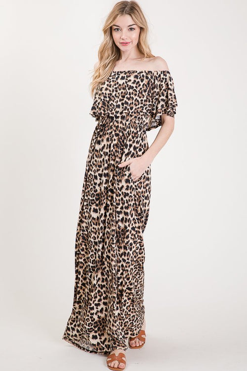 Curvy Off Shoulder Leopard Maxi