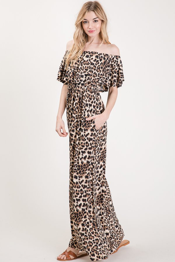 Missy Leopard Off Shoulder Maxi