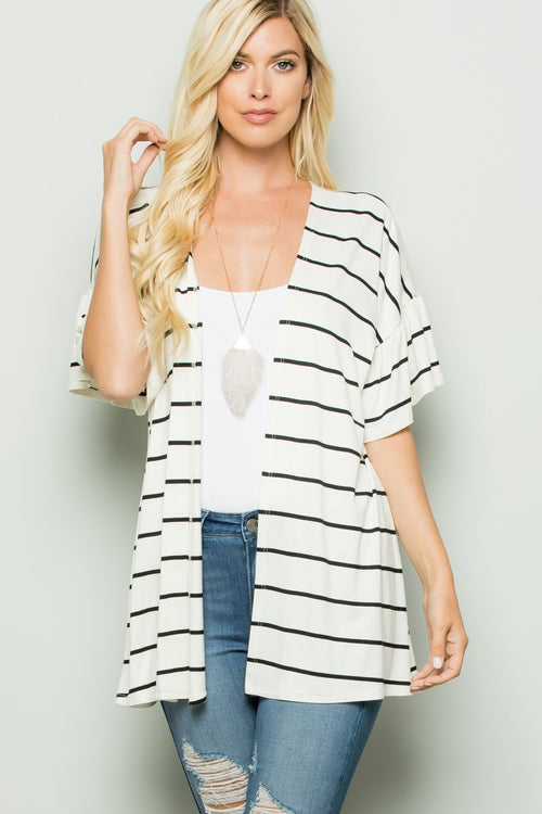 Short Sleeve Striped Cardigan