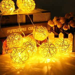 RATTAN BALL FAIRY STRING LIGHTS