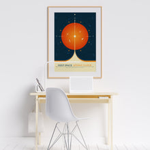 Deep Space Atomic Clock poster in orange