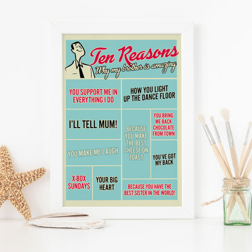 Ten reasons why my brother is amazing, personalised print