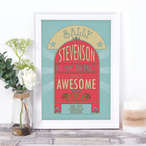 Personalised Awesome retro style birthday print
