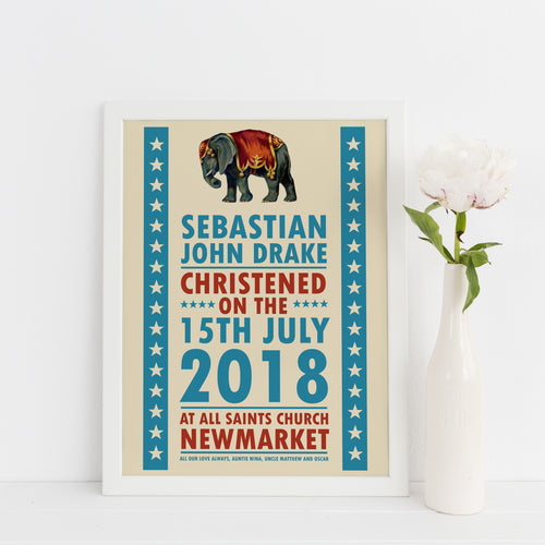 Personalised Circus themed Christening, Baptism or Naming Day print