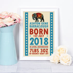 Personalised new baby gift - nursery name print with a circus theme