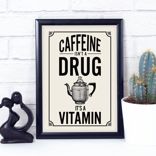 Retro kitchen coffee art print. Coffee quote print. Vintage kitchen.