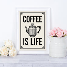 Coffee Quote print. Vintage-style typography print for your retro kitchen. Coffee is Life