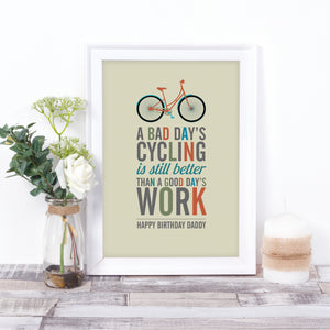 Retro Style Cycling Quote Print Bike A Great Gift For