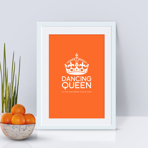Personalised Dancing Queen art print available in any colour.