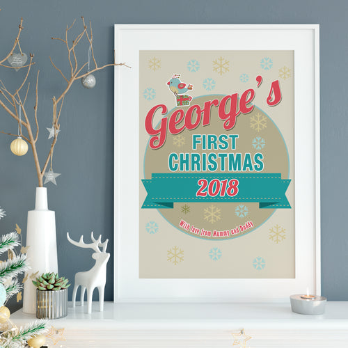 Baby's First Christmas, personalised baby name nursery print
