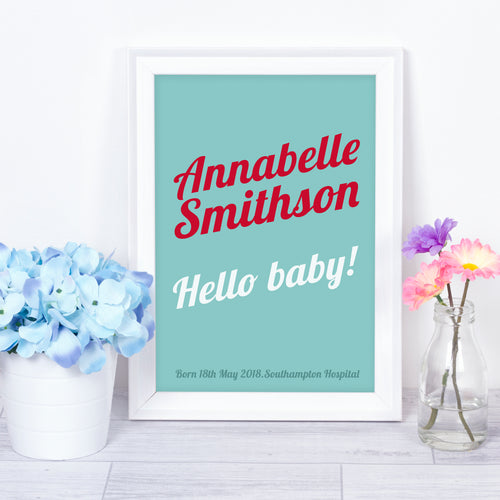 Hello Baby, personalised baby name nursery print