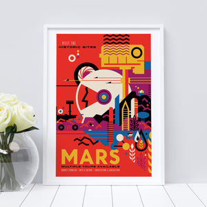 Mars vintage-style travel poster