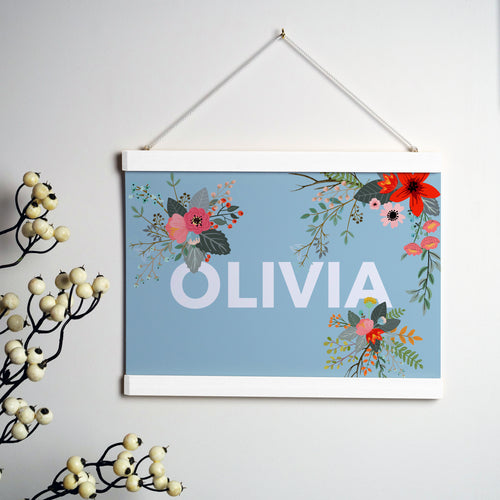 Personalised Floral Print With Hanging Frame