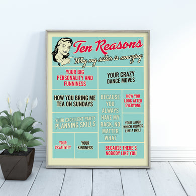 Ten reasons why my sister is amazing, personalised print
