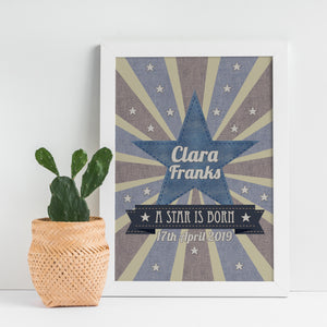 A star is born, personalised nursery print