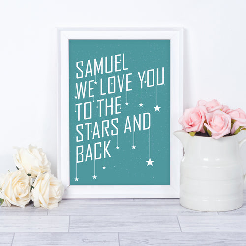 Personalised baby name stars nursery print