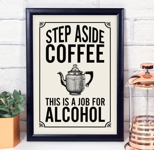 Coffee print. Vintage coffee print. Retro kitchen. Time for wine.