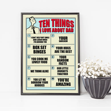 Things I Love About Dad, the perfect personalised gift for dads