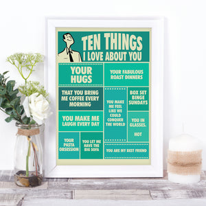 Ten things I Love About You, personalised vintage-style print for him