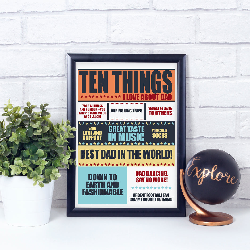Personalised Gift for dad - Ten Things I Love About Dad art print