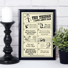 Ten things I Love About Dad, personalised gift for dad
