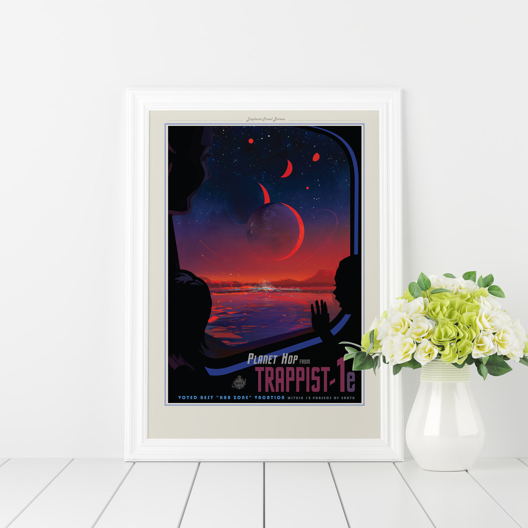 Trappist 1-e vintage-style travel poster