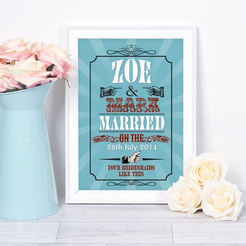 Personalised Vintage 'Likes' Wedding art print. Wedding gift.