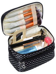 Classy! Black Polka Dot Double Layers Cosmetic Bag