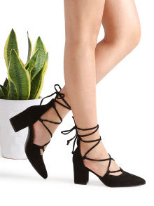 Elegant! Black Point Toe Lace Up Heeled Womens Shoes