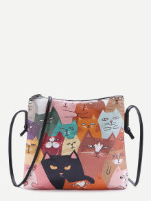 ADORABLE! Cat Print Pocket Back PU Shoulder Bag