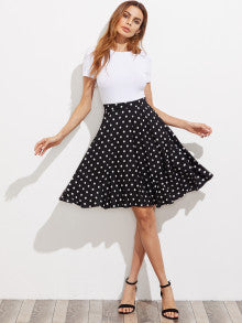 IN STYLE! Hidden Pocket Detail Polka Dot Circle Skirt