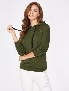 CHARMING Army Green Drop Shoulder Hoodie Sweatshirt