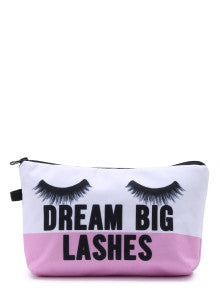 COOL Eyelash Print Color Block Makeup Bag