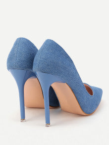 GREAT LOOK! Pointed Toe Shoes Denim Stiletto Women Heels