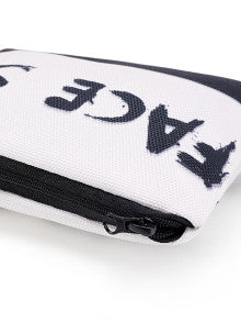 Chic Two Tone Slogan Print Cosmetic Bag