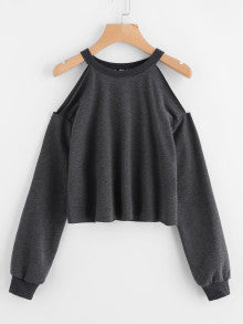 CHIC Open Shoulder Raw Hem Heathered Pullover Sweatshirt