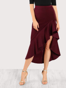 SMART! Asymmetric Flounce Trim Skirt