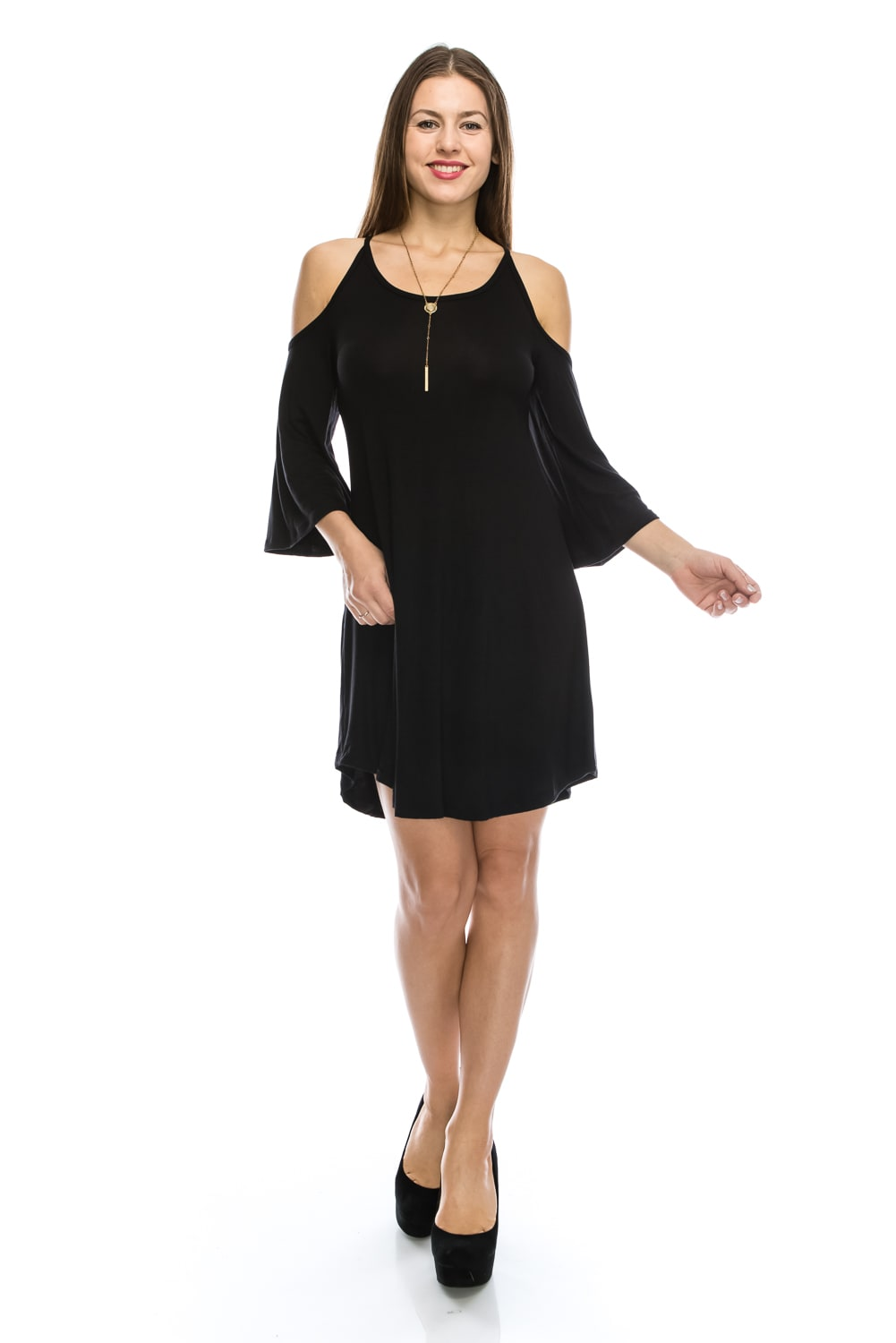 Stylish Open Shoulder Tunic Swing Designer Shift Dress w/ Trendy Bell Sleeves - MADE IN USA -  All Sizes + Colors