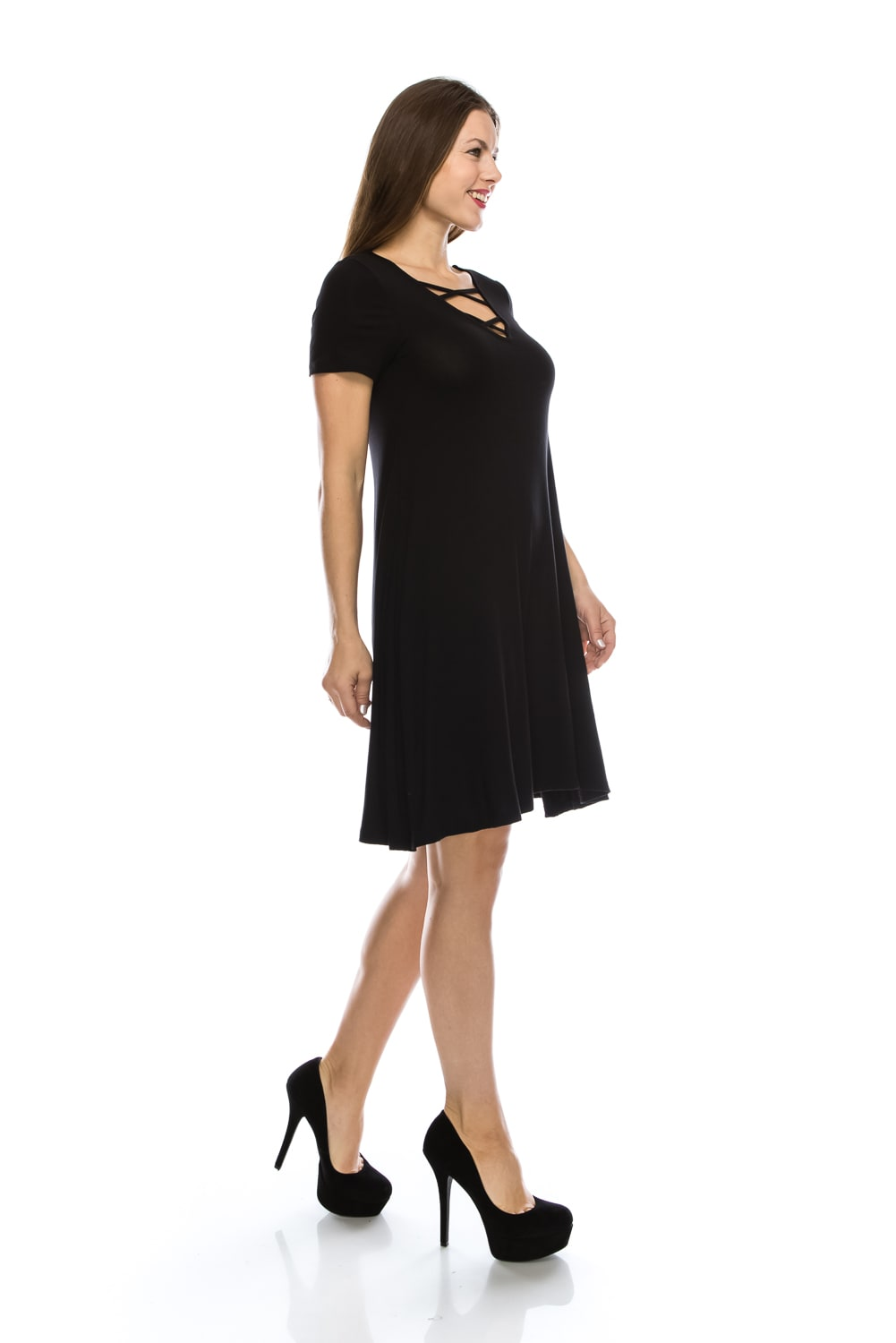 Exciting Tunic Shift Dress w/ V-Neck Short Sleeve with CrissCross Fashion Strap