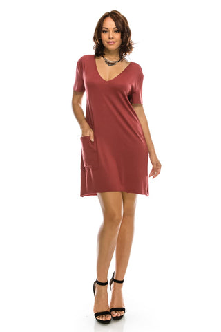 SEXY! V-Neck Dress Raw Sleeves and Bottom Hem w/ Pockets